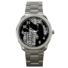 Funny Merry Christmas Santa, Typography, Black And White Sport Metal Watch by yoursparklingshop