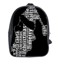 Funny Merry Christmas Santa, Typography, Black And White School Bags(large)  by yoursparklingshop