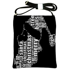 Funny Merry Christmas Santa, Typography, Black And White Shoulder Sling Bags by yoursparklingshop