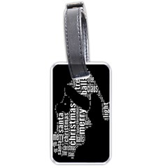 Funny Merry Christmas Santa, Typography, Black And White Luggage Tags (one Side)  by yoursparklingshop