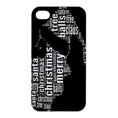 Funny Merry Christmas Santa, Typography, Black And White Apple Iphone 4/4s Premium Hardshell Case by yoursparklingshop