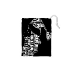 Funny Merry Christmas Santa, Typography, Black And White Drawstring Pouches (xs)  by yoursparklingshop