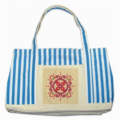 Hindu Flower Ornament Background Striped Blue Tote Bag by TastefulDesigns