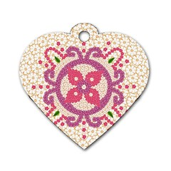 Hindu Flower Ornament Background Dog Tag Heart (two Sides) by TastefulDesigns