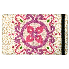 Hindu Flower Ornament Background Apple Ipad 2 Flip Case by TastefulDesigns