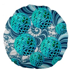 Teal Sea Forest, Abstract Underwater Ocean Large 18  Premium Flano Round Cushions by DianeClancy
