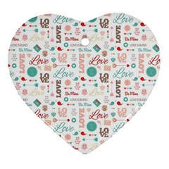 Lovely Valentine s Day Pattern Heart Ornament (2 Sides) by TastefulDesigns