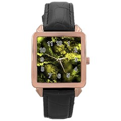 Amazing Fractal 24 Rose Gold Leather Watch  by Fractalworld