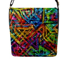 Color Play In Bubbles Flap Messenger Bag (l)  by KirstenStar