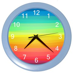 Sweet Colored Stripes Background Color Wall Clocks by TastefulDesigns