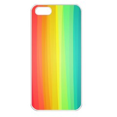 Sweet Colored Stripes Background Apple Iphone 5 Seamless Case (white) by TastefulDesigns