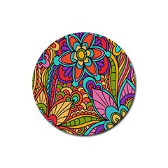 Festive Colorful Ornamental Background Rubber Round Coaster (4 Pack)  by TastefulDesigns