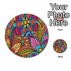 Festive Colorful Ornamental Background Multi Purpose Cards (round)