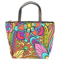 Festive Colorful Ornamental Background Bucket Bags by TastefulDesigns