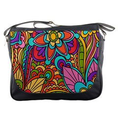Festive Colorful Ornamental Background Messenger Bags by TastefulDesigns
