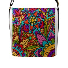 Festive Colorful Ornamental Background Flap Messenger Bag (l)  by TastefulDesigns