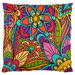 Festive Colorful Ornamental Background Large Flano Cushion Case (two Sides) by TastefulDesigns