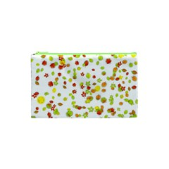 Colorful Fall Leaves Background Cosmetic Bag (xs) by TastefulDesigns