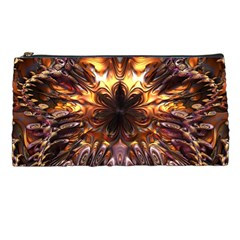 Golden Metallic Abstract Flower Pencil Cases by CrypticFragmentsDesign