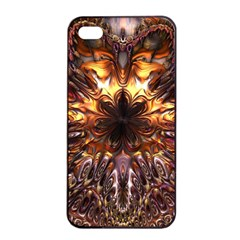 Golden Metallic Abstract Flower Apple Iphone 4/4s Seamless Case (black)