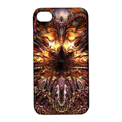 Golden Metallic Abstract Flower Apple Iphone 4/4s Hardshell Case With Stand