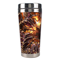 Golden Metallic Abstract Flower Stainless Steel Travel Tumblers by CrypticFragmentsDesign