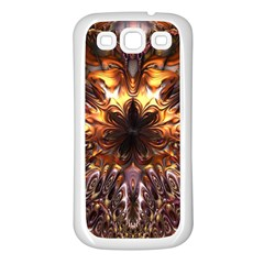 Golden Metallic Abstract Flower Samsung Galaxy S3 Back Case (white)