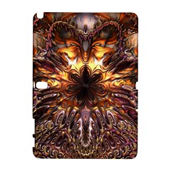 Golden Metallic Abstract Flower Samsung Galaxy Note 10 1 (p600) Hardshell Case by CrypticFragmentsDesign