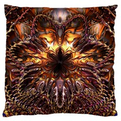 Golden Metallic Abstract Flower Standard Flano Cushion Case (one Side) by CrypticFragmentsDesign