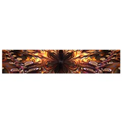 Golden Metallic Abstract Flower Flano Scarf (small)