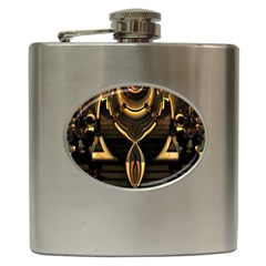 Golden Metallic Geometric Abstract Modern Art Hip Flask (6 Oz) by CrypticFragmentsDesign