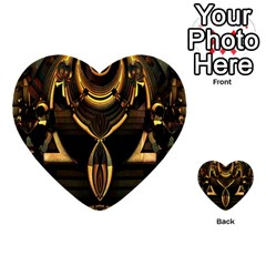 Golden Metallic Geometric Abstract Modern Art Multi Purpose Cards (heart) by CrypticFragmentsDesign
