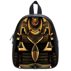 Golden Metallic Geometric Abstract Modern Art School Bag (small) by CrypticFragmentsDesign