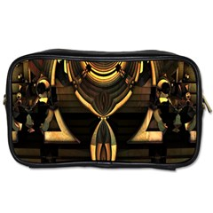 Golden Metallic Geometric Abstract Modern Art Toiletries Bag (two Sides)