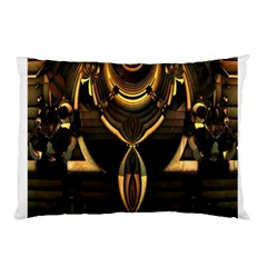 Golden Metallic Geometric Abstract Modern Art Pillow Case (two Sides) by CrypticFragmentsDesign