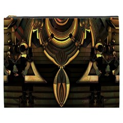 Golden Metallic Geometric Abstract Modern Art Cosmetic Bag (xxxl) by CrypticFragmentsDesign