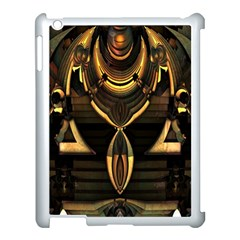 Golden Metallic Geometric Abstract Modern Art Apple Ipad 3/4 Case (white) by CrypticFragmentsDesign