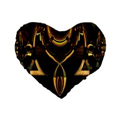 Golden Metallic Geometric Abstract Modern Art Standard 16  Premium Heart Shape Cushion  by CrypticFragmentsDesign