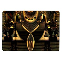 Golden Metallic Geometric Abstract Modern Art Samsung Galaxy Tab 10 1  P7500 Flip Case by CrypticFragmentsDesign