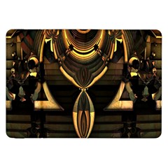 Golden Metallic Geometric Abstract Modern Art Samsung Galaxy Tab 8 9  P7300 Flip Case by CrypticFragmentsDesign