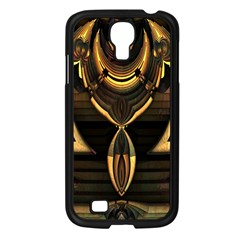 Golden Metallic Geometric Abstract Modern Art Samsung Galaxy S4 I9500/ I9505 Case (black) by CrypticFragmentsDesign