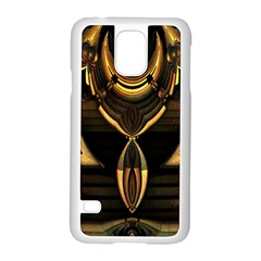Golden Metallic Geometric Abstract Modern Art Samsung Galaxy S5 Case (white) by CrypticFragmentsDesign