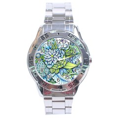 Peaceful Flower Garden 1 Stainless Steel Analogue Watch by Zandiepants