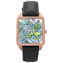 Peaceful Flower Garden 1 Rose Gold Leather Watch  by Zandiepants