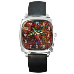 Boho Bohemian Hippie Floral Abstract Square Metal Watch by CrypticFragmentsDesign