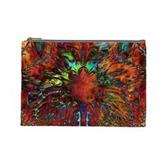 Boho Bohemian Hippie Floral Abstract Cosmetic Bag (large)  by CrypticFragmentsDesign