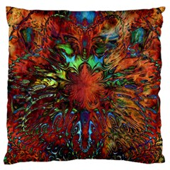 Boho Bohemian Hippie Floral Abstract Large Cushion Case (one Side) by CrypticFragmentsDesign