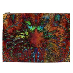 Boho Bohemian Hippie Floral Abstract Cosmetic Bag (xxl)  by CrypticFragmentsDesign