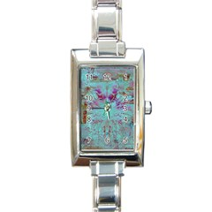 Retro Hippie Abstract Floral Blue Violet Rectangle Italian Charm Watch by CrypticFragmentsDesign