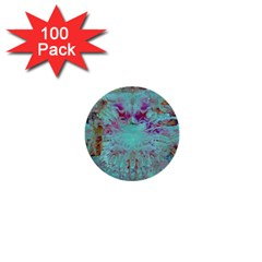 Retro Hippie Abstract Floral Blue Violet 1  Mini Buttons (100 Pack)  by CrypticFragmentsDesign